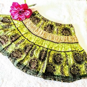 faded glory green skirt girls 10 12 ruffled gold